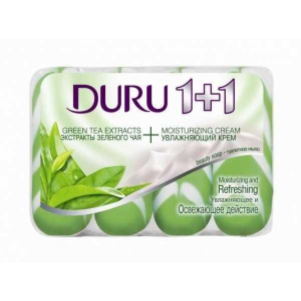 Duru мыло 1+1(полосатое) 4*90гр Зелёный чай