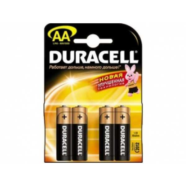 Дюраселл (Duracell) батарейка 4-х шт AA  (пальч.) mn1500