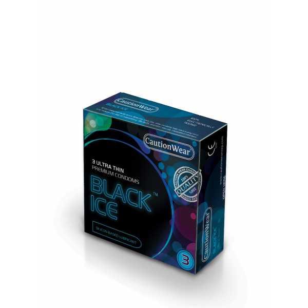 """Презервативы CautionWear Black Ice  """"Премиум"""", ультратонкие, с натуральным лубрикатом, экстра чувствительные, 3 шт"""