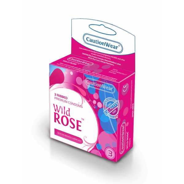 """CautionWear Wild Rose Презервативы """"Премиум"""", рифленные, с натуральным лубрикатом, 3 шт"""