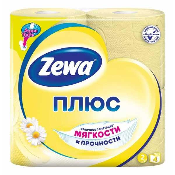 """Туалетная бумага Zewa Плюс """"Аромат ромашки"""", 2 слоя 4 рулона"""