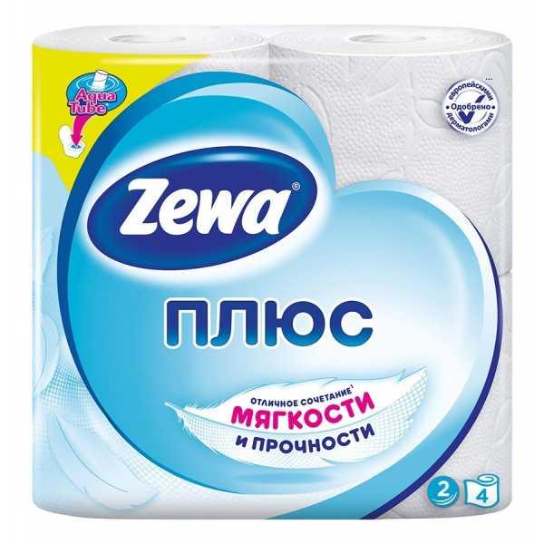 "Туалетная бумага Zewa Плюс ""Белая"", 2 слоя 4 рулона"