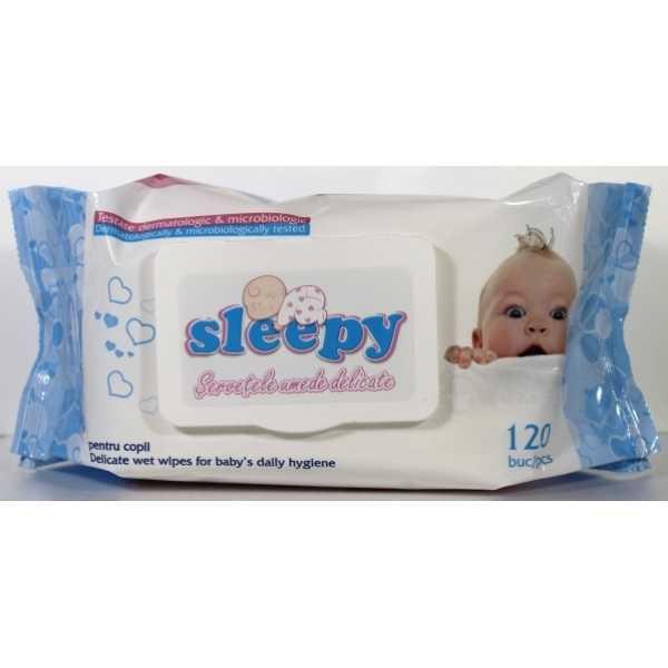 Влажные салфетки Sleepy классические с пластиковым клапаном, 120 шт