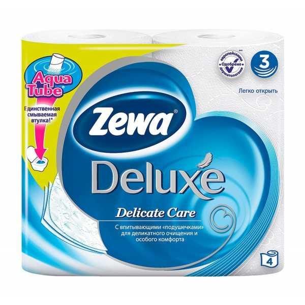 Туалетная бумага Zewa Deluxe Белая, 3 слоя, 4 рулона