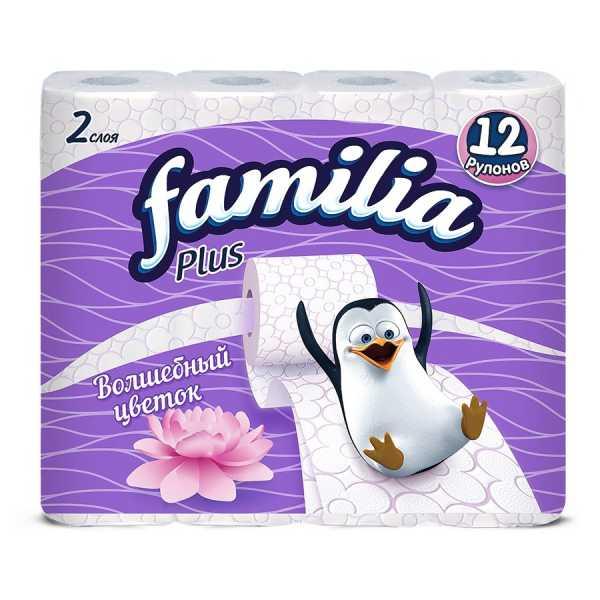 """Туалетная бумага Familia Plus """"Магический цветок"""", 2 слоя, 12 рулонов"""