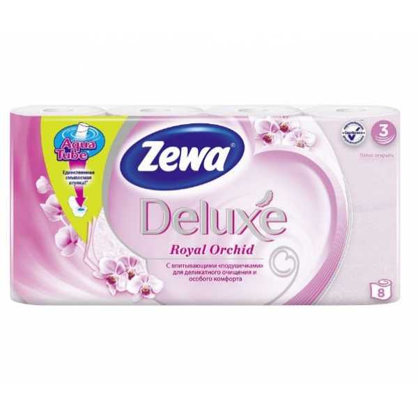 """Туалетная бумага Zewa Deluxe """"Орхидея"""", 3 слоя, 8 рулонов"""
