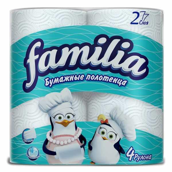 Полотенца бумажные Familia 2 слоя, 4 рулона