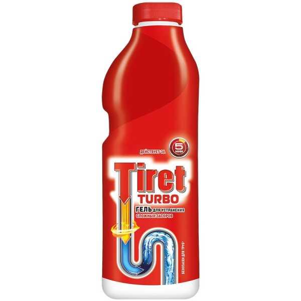 Гель мощный Tiret Турбо для устранения засоров в канализационных трубах, 1 л