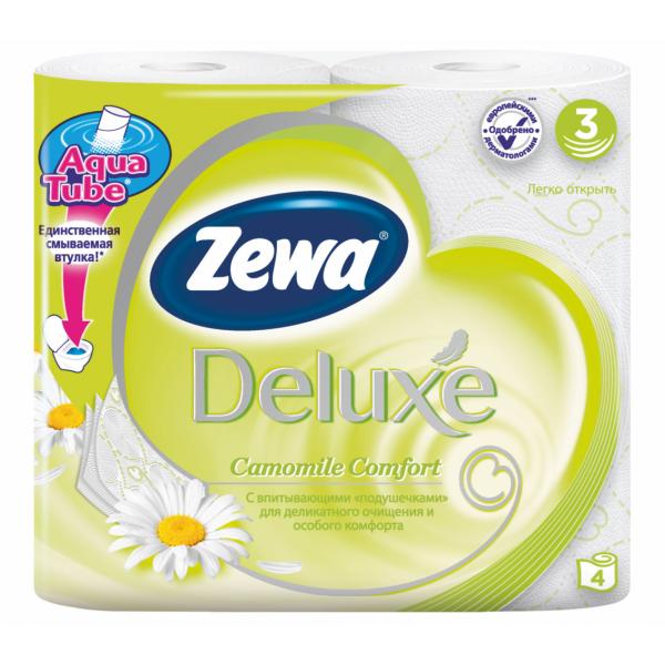 """Туалетная бумага Zewa Deluxe """"Ромашка"""", 3 слоя, 4 рулона"""