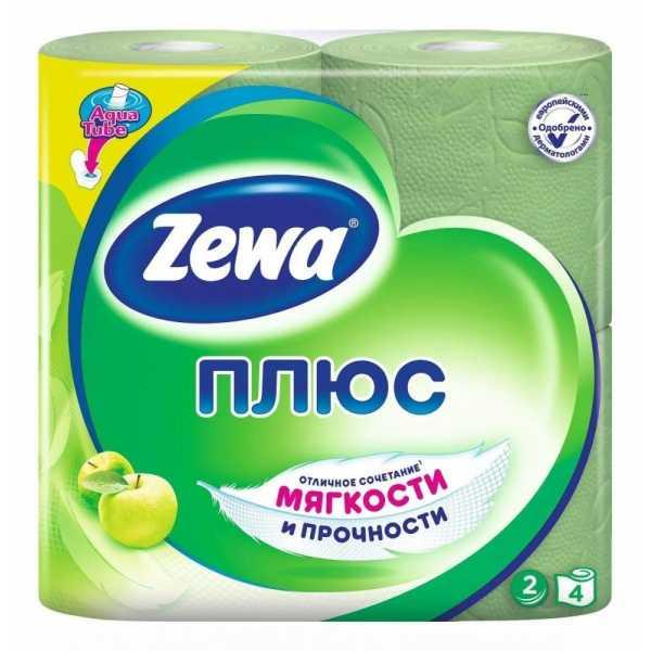 """Туалетная бумага Zewa Плюс """"Аромат яблока"""", 2 слоя 4 рулона"""