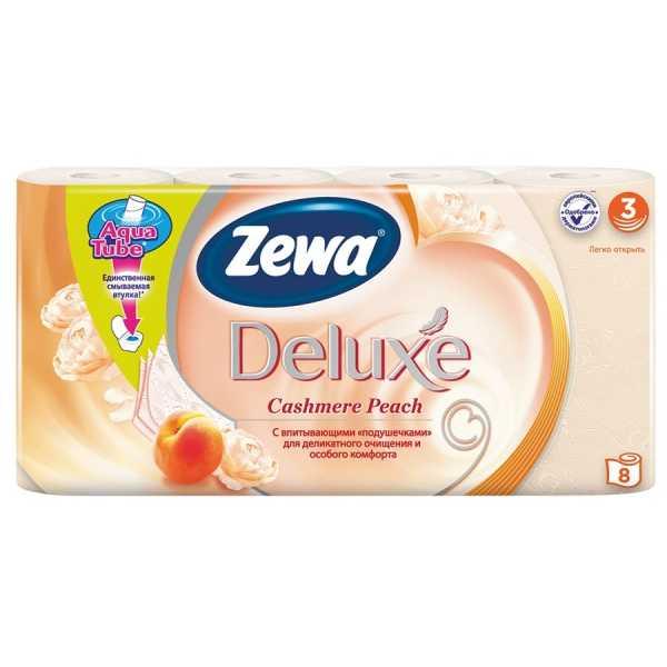 """Туалетная бумага Zewa Deluxe """"Персик"""", 3 слоя, 8 рулонов"""