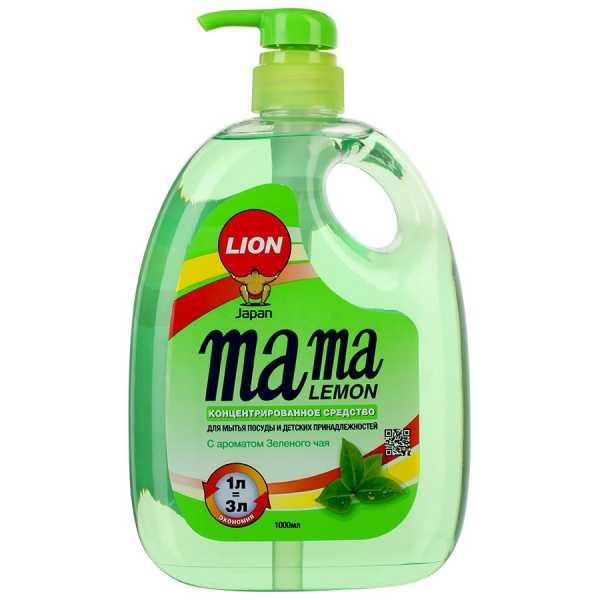 Средство Mama lemon концентрированное для мытья посуды и детских принадлежностей с ароматом Зеленого чая, 1 л