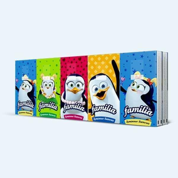 Бумажные носовые платочки Familia Classical 3-х слойные, 10шт