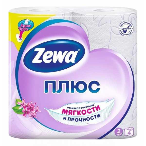 """Туалетная бумага Zewa Плюс """"Аромат сирени"""", 2 слоя 4 рулона"""