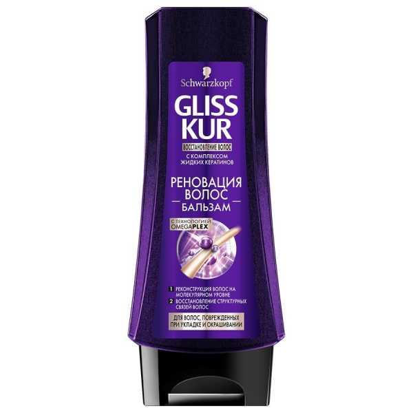 """Бальзам Gliss Kur """"Реновация волос"""" для волос, поврежденных при укладке и окрашивании, 200 мл"""