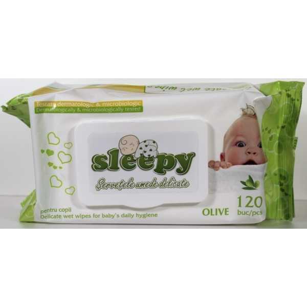 """Влажные салфетки Sleepy """"Olive"""" с пластиковым клапаном, 120 шт"""