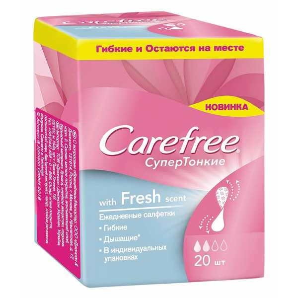 Салфетки Carefree with Fresh scent супертонкие ежедневные, 20 шт