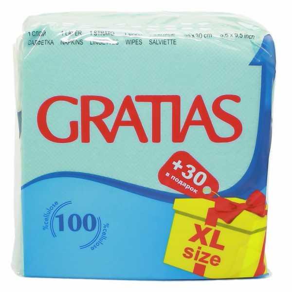 """Салфетки бумажные Gratias """"Бирюзовые"""", 120 шт"""